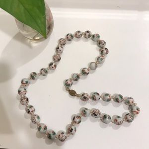 Jewelry - Hand knotted and painted glass (?) bead necklace.